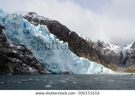 TIERRA DEL FUEGO, CHILE - NOVEMBER 20,2014: Nena Glacier in the archipelago of Tierra del Fuego.