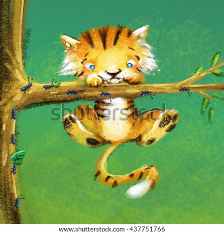 Tiger hanging from a tree - stock photo