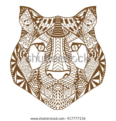 Tiger head. Adult antistress coloring page. Brown white hand drawn doodle animal. Ethnic patterned Art. African, indian, totem tribal, zentangle design. Sketch for tattoo, poster, print, t-shirt