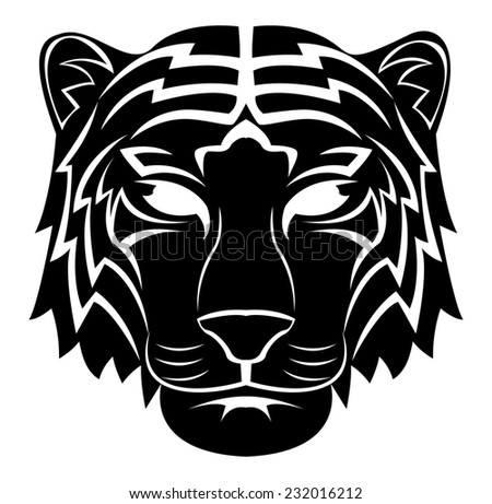 Tiger Head Tattoo - stock photo