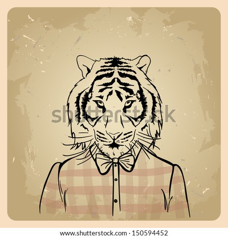 Tiger hipster in a shirt on a vintage background  .rasterized/bitmap version - stock photo