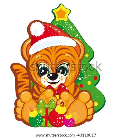Tiger in the Santa hat  with the Christmas tree and gifts