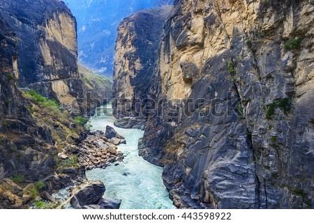 Tiger Leaping Gorge. Located 60 kilometres north of Lijiang City, Yunnan Province, China. - stock photo