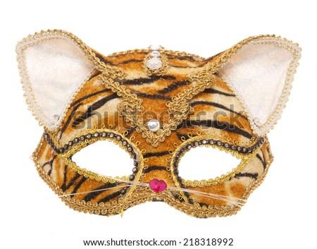 Tiger masquerade mask studio cutout - stock photo