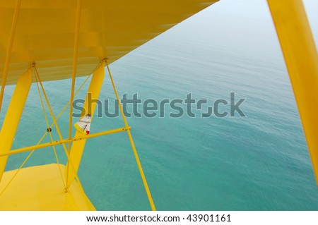 Tiger moth wing over ocean - stock photo