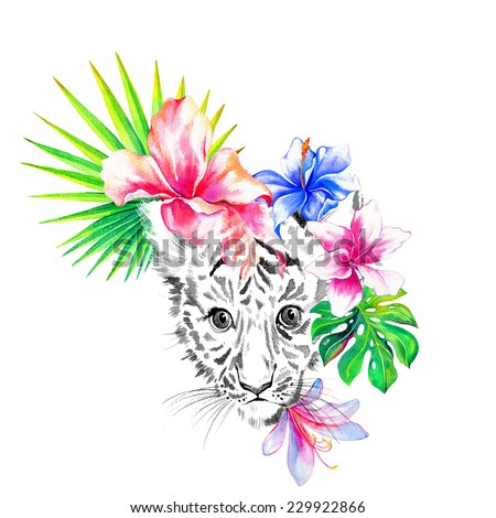 tiger portrait, tropical hibiscus, exotic monstera and palm leaf, central print isolated on white. - stock photo