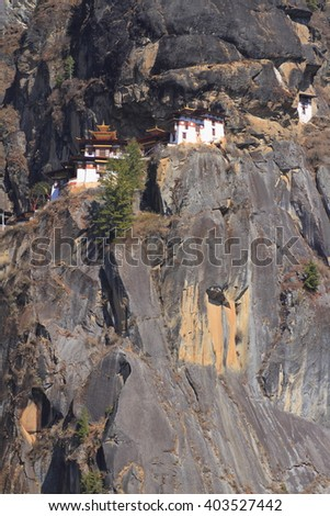 Tiger's Nest, Taktsang Monastery, Himalayan Buddhist sacred site and temple complex, located in the cliffside of the upper Paro valley, in Bhutan. - stock photo