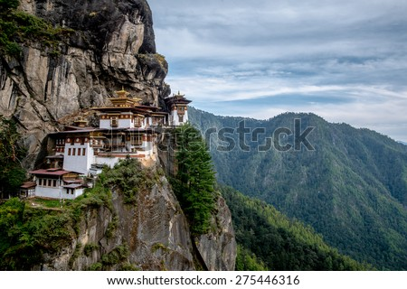 Tiger's nest Temple or  Tiger's nest monastery,one of the most beautiful temple in the world. The most sacred place in Bhutan is located on the 3,000-foot high cliff of Paro valley, Bhutan. - stock photo