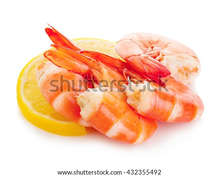 Tiger shrimps with lemon slice . Seafood. - stock photo