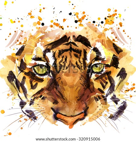 tiger T-shirt graphics, tiger eyes illustration with splash watercolor textured background. illustration watercolor tiger for fashion print, poster for textiles, fashion design - stock photo