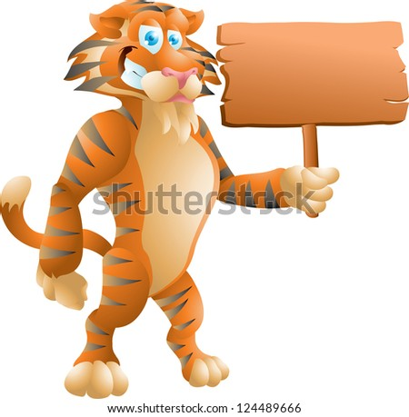 tiger with sign - stock photo