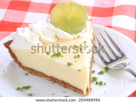 Tight shot of slice of key lime pie on white plate garnished with lime and zest garnish sitting on red and white plaid tablecloth. - stock photo