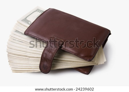 tightly-stuffed purse on white background - stock photo