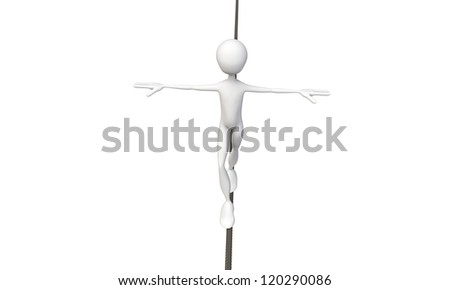 tightrope walker isolated on white background - stock photo
