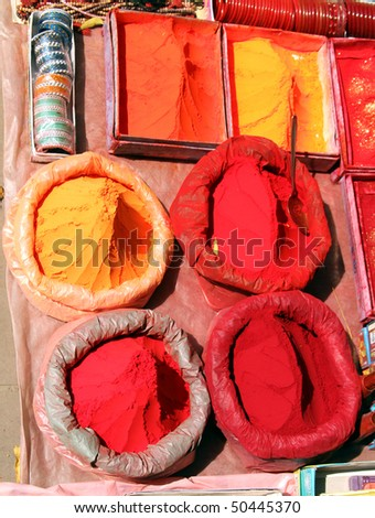 Tika powder used in festivals and events in India - stock photo