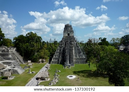 Tikal, Guatemala, one of the largest archaeological sites and urban centres of the pre-Columbian Maya civilization  - stock photo