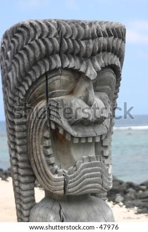 tiki statue - stock photo