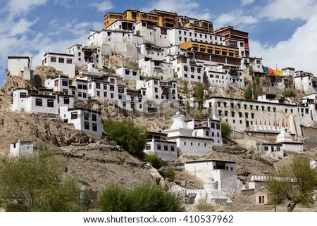 Tiksey Monastery is a Buddhist monastery in Ladakh, India - stock photo