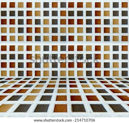 Tile mosaic room pastel color. - stock photo