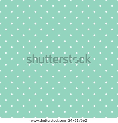 Tile pattern with small white polka dots on mint green background