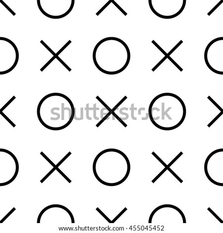 Tile x o noughts and crosses black and white pattern