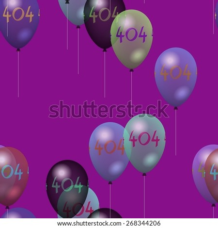 Tileable party air balloons pattern with number 404 - stock photo