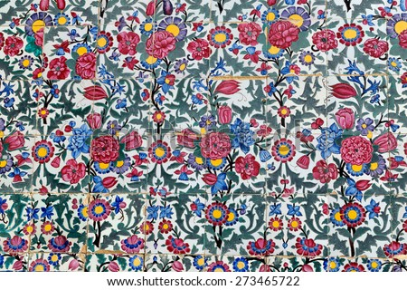 Tiled background, oriental ornaments from Vakil Mosque in Shiraz, Iran  - stock photo