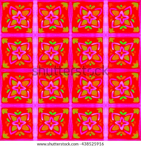 Tiled background with floral ornaments. Arabesque pattern. Watercolor flower tile seamless background.  Colorful tiled watercolor seamless pattern. Hand paint of watercolor floral repeating pattern.  - stock photo