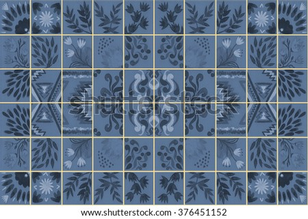 Tiled background with oriental ornaments. Watercolor tile seamless background. Hand paint of watercolor tiled oriental repeating pattern. Colorful tiled watercolor seamless pattern. Hand made.