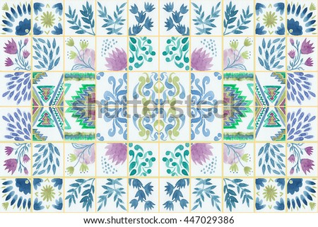 Tiled background with oriental ornaments Watercolor tile seamless pattern. Hand paint aquarelle tiled arabesque repeating pattern. Colorful tiled watercolor seamless texture for swimwear. Hand made. - stock photo
