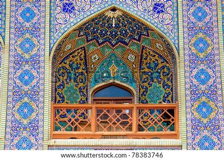 Tiled balcony, oriental ornaments from Seyed Alaedin Hossein Shrine, Astane, Shiraz, Iran - stock photo