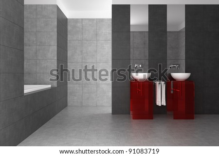 tiled bathroom with double basin and bathtub - stock photo