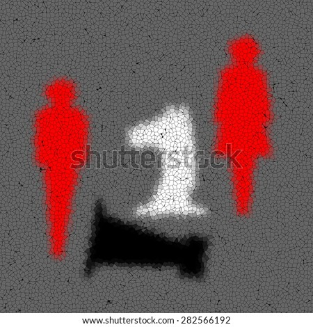 Tiled mosaic background with stylized red human couple figures and black and white chess horse and tower - stock photo