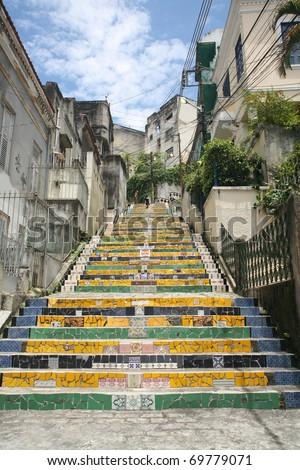 Tiled steps in Lapa, Rio de Janeiro, Brazil - stock photo
