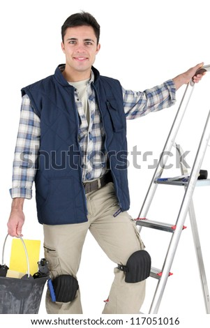 Tiler with materials - stock photo