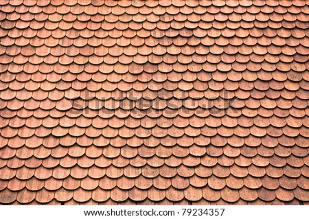 Tiles on old castle roof, architecture background. - stock photo