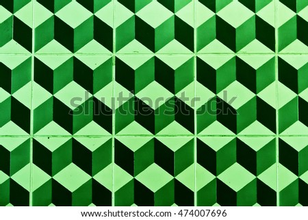 tiles with cubes pattern colored green
