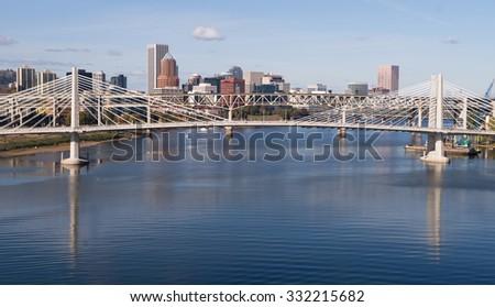 Tilikum Crossing Portland Oregon New Bridge Construction Willamette River - stock photo