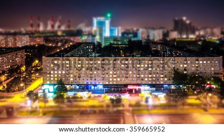 Tilt and shift view of soviet style avenue in Moscow from above  - stock photo