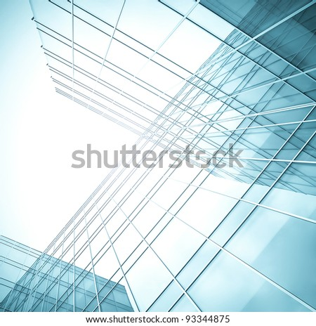 tilt view to wall of business center - stock photo