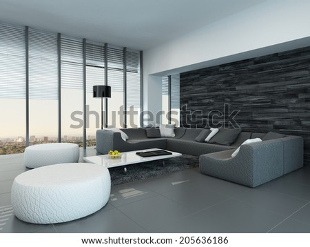 Tilted perspective of a modern grey and white living room interior with ottomans and a large settee in front of floor-to-ceiling glass windows letting in lots of daylight
