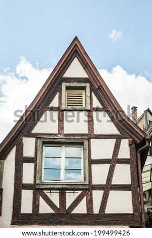 timber frame building in Ribeauville, Alsace, France