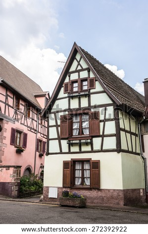 timber frame building in Ribeauville, Alsace, France - stock photo