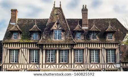 Timber frame house of Maurice Ravel, impressionist musician, in Lyons la foret, eure, upper normandy, France - stock photo