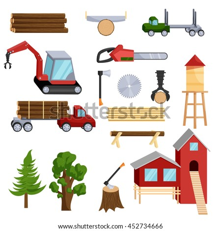 Timber industry icons set in cartoon style isolated on white background - stock photo
