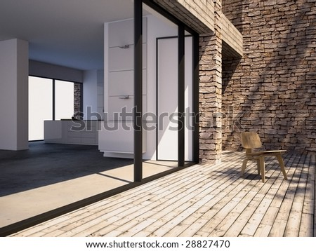Timber pool deck on modern home terrace (3D render) - stock photo
