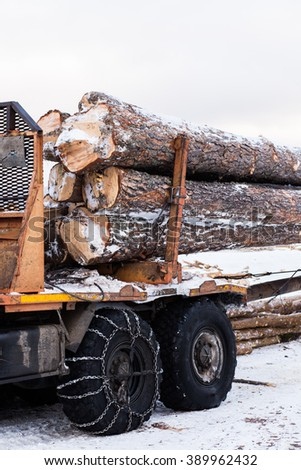 Timber truck just finished loading. winter - stock photo