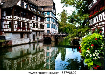 Timbered houses in the Petit France in Strasbourg in France - stock photo