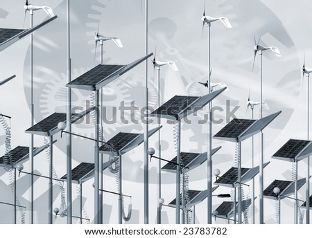 Time abstract overlaid over solar panels and wind generators