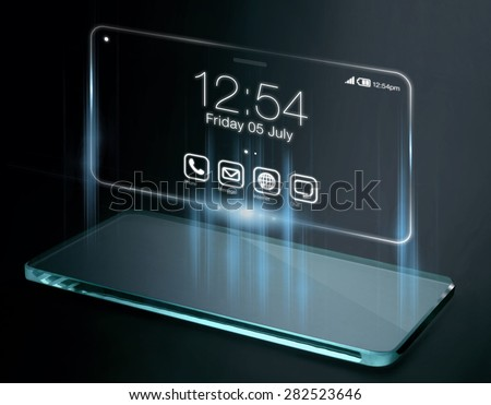 Time and apps on three dimensional smartphone screen. A 3D phone is a mobile phone that conveys depth perception to the viewer by employing stereoscopy or any other form of 3D depth techniques. - stock photo